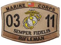 USMC MARINE CORPS 0311 RIFLEMAN PATCH VET MOS SEMPER FI GRUNT INFANTRY DESERT