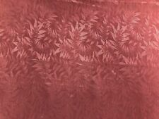 Mauve Rose Floral Leaves Brocade Damask Cotton Upholstery Drapery Fabric