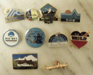 LOT OF 10 SKI RESORT SOUVENIR LAPEL PINS