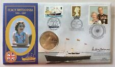 Benham 1997 HMY Britannia FDC Signed Commodore MORROW, Commanding Officer, Coin