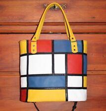 Borsa donna vera pelle dipinta Mondrian women handbag leather fatta mano Italy