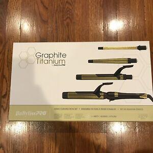 BaBylissPRO Graphite Titanium Ionic Curling Iron Set Gold Black NEW SEALED