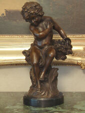 Garden Sculpture Cherub Angel Collector Art Cupid Bronze Marble Statue Gift