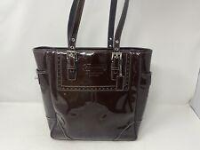 COACH ASHLEY F11519 BROWN PATENT LEATHER Satchel Purse Handbag Silver Accents EU