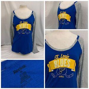 St. Louis Blues Shirt XL Blue Long Sleeve 100% Cotton Scoop Neck NWOT YGI N1-125