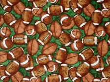 FAT QUARTER FOOTBALLS PIGSKIN GRIDIRON FABRIC QUILTING TREASURES NFL