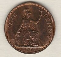 PROOF 1937 GEORGE VI PENNY IN NEAR MINT CONDITION.