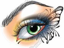 "Eye Make Up with Butterfly Beauty Salon Car Bumper Vinyl Sticker Decal 5""X4"""