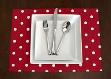 Set of 4 - Red & White Polka Dot Print Modern Placemats Table Topper