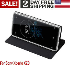 Sony Xperia XZ3 Case Flip Cover PU Leather Shockproof Kickstand Card Slot Black