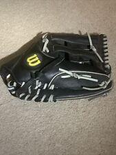 Wilson Elite A2449 Softball Black Grey Leather RHT Glove Mitt Used