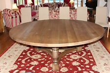8,10,12,14 seater Large Solid Oak Round Dining Table, Triple hoop base,Blackened