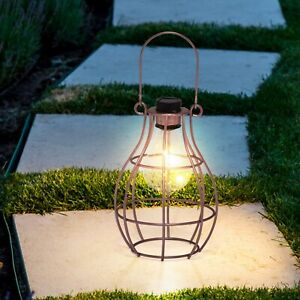 Solar Powered Hanging Copper Lantern Retro Outdoor Decor Light Table Lamp UK