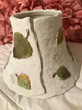 Large Candle shade topper Rustic White with Green Leaves