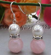 Rose Quartz White Sea Shell Pearl Earrings