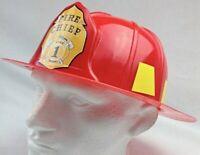 Fireman Helmet Firemen Hat Party Costume Dress Up Red Plastic Cap