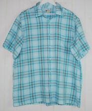 Haggar Mens XL Shirt Short Sleeve Button Front Blue Black White Plaid Oxford