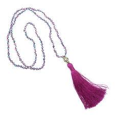 Handmade Halskette Ibiza Quaste Buddha Anhänger Violett