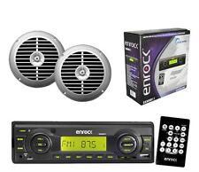 "New Enrock Black Marine Radio Receiver USB SD Card w/Remote 6.5"" Silver Speakers"