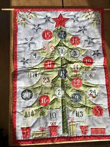 Hand Made Fabric  Scandi Style Christmas  Tree Advent Calendar Hand stitched,new