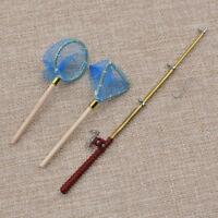 Dollhouse Miniature Wood Alloy Fishing Rod + Fishing Net Doll House Decoration