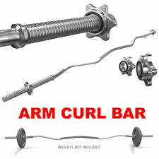"ARM CURL BAR WEIGHT LIFTING WITH SPINLOCK COLLARS HOME GYM FITNESS EZ 1"" BARBELL"