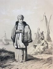 Le Prince vielle femme Russe  XVIIIe Lassalle litho de Godard c 1860 Russie