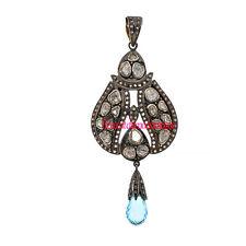 1.12ct Polki Silver Topaz Party Pendant Amazing Vintage Antique Rose Cut Diamond