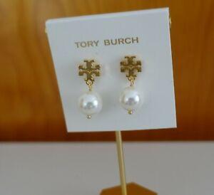 Tory Burch logo faux pearl drop earrings in gold color. New