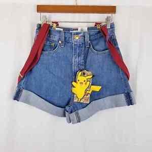 Levi's x Pokemon Misty's Shorts High Rise Loose Fit Suspender Cerulean 24 (26x4)