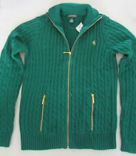 NWT Lauren by Ralph Lauren Full-Zip Cable Knit Sweater Cardigan Green Size S