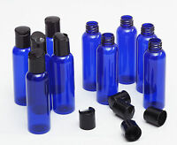 Brand New 2 Oz Empty  Plastic Blue PET Bottles with Dispensing cap ( 20 PACK )
