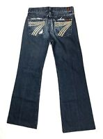 7 For All Mankind Dojo Jeans Feather Rivets Pocket Design Size 26, Inseam 29