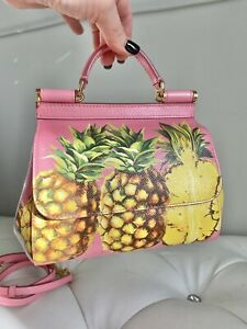 $2245 New DOLCE & GABBANA Pink Pineapple MINI Sicily Bag