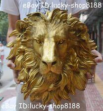 China Folk Brass Copper Home Decoration Foo Dog Lion Head Mask Statue Sculpture
