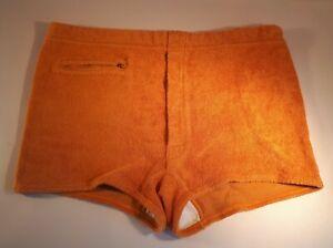 "1970s Unworn Mens Orange Towelling Swimming Trunks. St. Michael. W: 35""/ 89 cms"