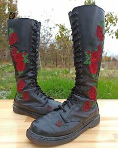 Dr Martens Rhonda Boots Women 6 UK 8 US Knee High Vonda 20 eye Red Rose applique