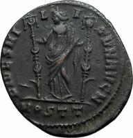 MAXENTIUS Authentic Ancient 309AD Ostia Genuine Original Roman Coin FIDES i78416