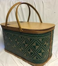 Burlington Basket Hawkeye Picnic Hamper w Pie Shelf Green Woven Wicker Vintage