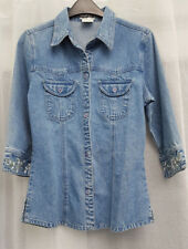 NEVADA ** SIZE UK 12 ** VINTAGE THICK DENIM EMBROIDERED CUFF BLOUSE / SHIRT
