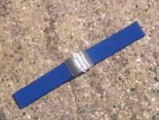 22mm SILICONE RUBBER BLUE DIVERS WATCH STRAP with DEPLOYMENT BUCKLE
