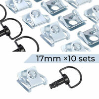 Motorcycle Race Fasteners Quick Release 17mm D-Ring 1//4 Turn Fairing Fastener Rivet Style Black Chrome x10 Sets CaliBikerClub