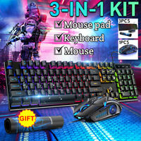 LED Gaming Keyboard and Mouse Set Wired USB Ergonomic for PC Laptop Pad