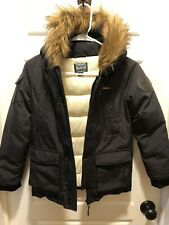 Woolrich Boys Winter Hooded Coat with removable Faux Fur Hood Trim Black Size 5