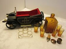 VINTAGE  Metal CAR MUSIC AMBER DECANTER 6 SHOT GLASSES Japan How dry