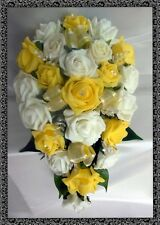 BRIDES TEARDROP BOUQUET , Wedding Flowers Ivory & yellow roses with diamante