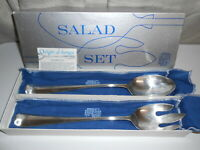 England Silver SG Hallmark Spoon And Fork Vintage Salad Serving Set Gift Box