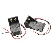2pcs Single Slots 1x 9V Battery Clip Holder Case Box with Wire Leads DIY SALE