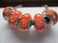 5 Pandora Silver 925 Ale Orange Field of Daisies Flowers Murano Glass Bead Charm