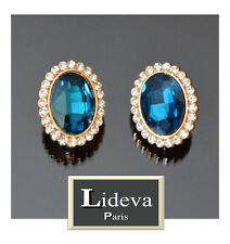 Luxus Ohrclips Clips Ohrringe Oval Kristall Strass  Lideva Paris Blau